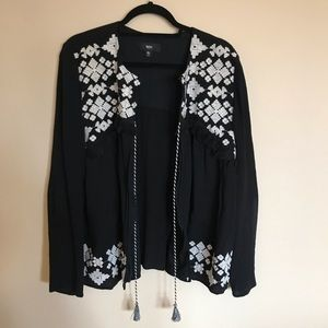 Mossimo Black Embroidered Cardigan